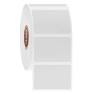 "A roll of white Acid and Base-Resistant Thermal-Transfer Labels - 1.5"" x 1"""