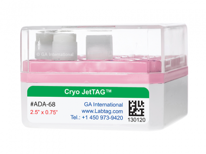 White cryo box, containing 3 cryo vials, labeled with a Cryo-JetTAG cryogenic label for inkjet printers, printed with text and a 2D barcode.