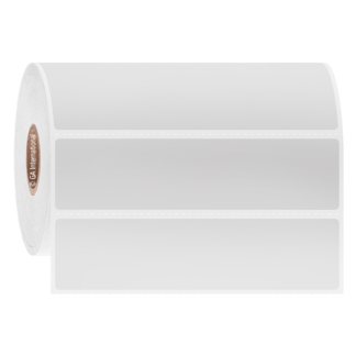 "A white roll of removable autoclave-resistant thermal-transfer labels. Dimensions of AUTR-127 heat-proof labels are 4"" x 1""."