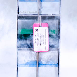 A frozen metal rack identified using a pink cryogenic tag, with a thermal-transfer printed NitroTAG cryogenic label.