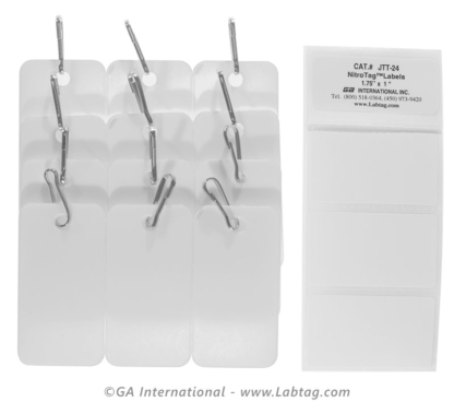Pack of nine white tags with connection hooks for the identification of cryogenic metal racks