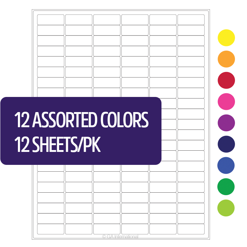 Permanent Cryo Laser Labels (US Letter Size) – 1.28″ x 0.5″ #CL-23 (12 Assorted Colors) image