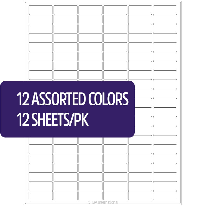 Permanent Cryo Laser Labels (US Letter Size) – 1.28″ x 0.5″<span class='sku'>#CL-23 (12 Assorted Colors)</span> image