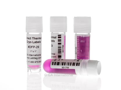 Drei stehende Kryo-Fläschchen und eines liegend. Die Fläschchen sind mit kryogenen Thermo-Direktetiketten mit Barcode-Aufdruck versehen.
