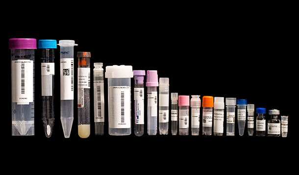 A row of tubes and vials of varying sizes, ranging from 0.5 ml to 50 ml, labeled with thermal-transfer barcode labels, printed with 1D and 2D barcodes.