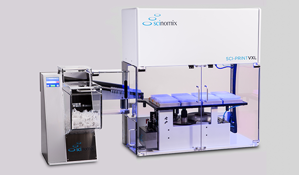 A Sci-Print VXL automated tube labeling system upgraded with a Scinomix VXQ bulk feeding system designed to convey tubes for labeling, and racking.