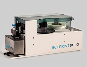The Sci-Print SOLO, semi-automated labeling device, is designed for manual labeling of tubes, and can be incorporated into larger systems.