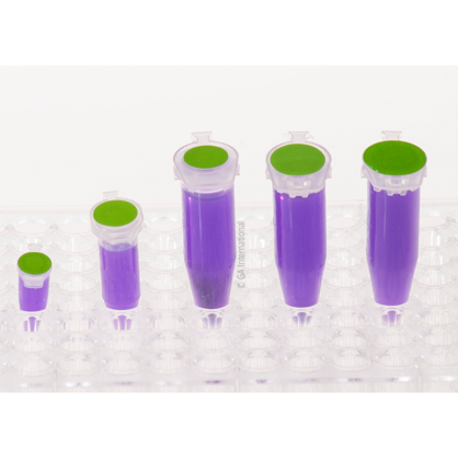 A clear rack with five microtubes of different sizes, filled with a purple liquid, labeled with green LabTAG cryogenic writable color dots.