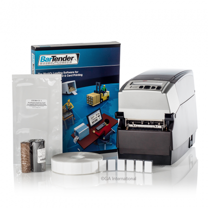 A histology workstation printing kit, with a CognitiveTPG barcode printer, a xylene resistant ribbon, a roll of labels, and BarTender software.