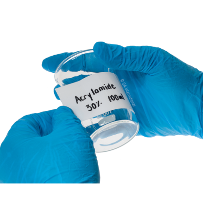 A gloved hand applying PluroTAPE, the writable, self-laminating, permanent perforated tape on an empty glass beaker for identification.