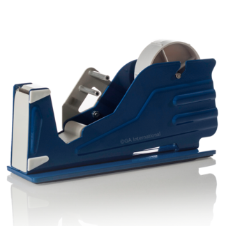 "A blue 1"" wide tape dispenser by GA International, that can hold I roll of lab tape."
