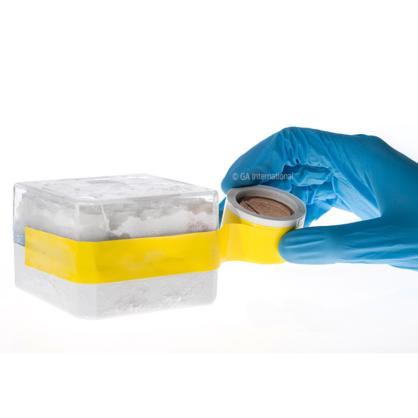 Eine behandschuhte Hand, die ein beschreibbares gelbes Kryo-Klebeband für in Gefrierschränken und flüssigem Stickstoff gelagerte Gefrierbehälter auf eine gefrorene Kryobox klebt.