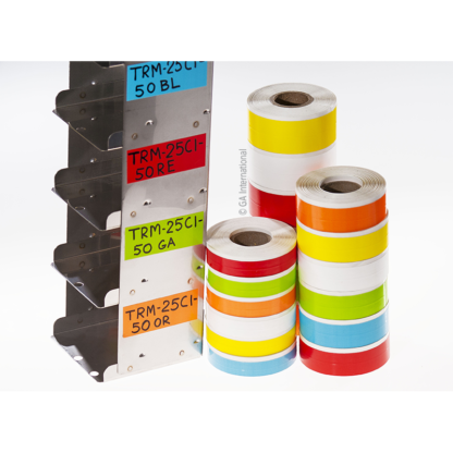 A metal cryogenic rack labeled with four pieces of writable, removable deep-freeze color tape, next to three stacks of color tape rolls.