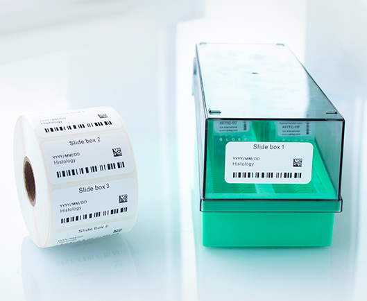 A roll of thermal-transfer printed labels, next to a slide storage box, labeled with a freezer-grade barcode label printed with text and barcodes.