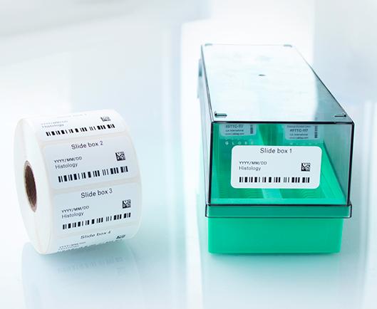 Eine Rolle bedruckter Thermotransferetiketten neben einer Aufbewahrungsbox für Objektträger, die mit einem mit Text und Barcodes bedruckten Barcode-Etikett in Gefrierqualität versehen ist.