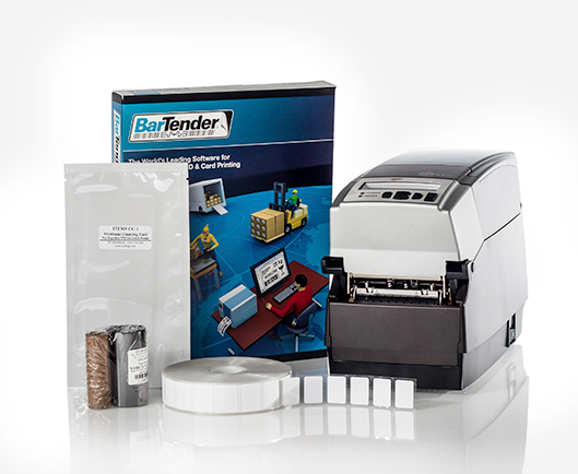 Printing kit for histology labs, with a Cognitive printer, resin ribbon, a copy of BarTender software, and a roll of chemical-resistant labels.