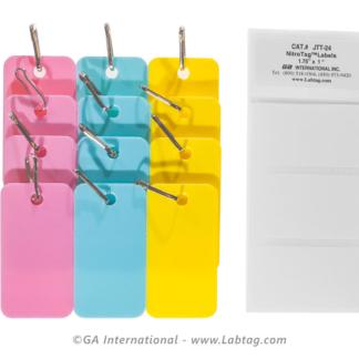 Packung mit neun verschiedenen Farbetiketten in den Farben Pink, Blau und Gelb mit Verbindungshaken zur Identifizierung kryogener Gefriertruhen