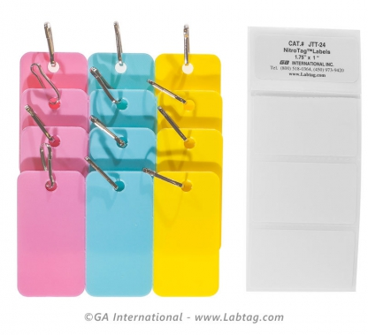 Pack of nine assorted colors tags in pink, blue and yellow with connection hooks for the identification of cryogenic chest freezers
