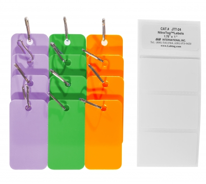 Pack of nine assorted colors tags in purple, green and orange with connection hooks for the identification of cryogenic metal racks
