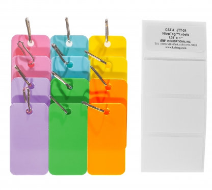 Pack of nine assorted color tags pink, blue, yellow, purple, green and orange with connection hooks for the identification of cryogenic metal racks