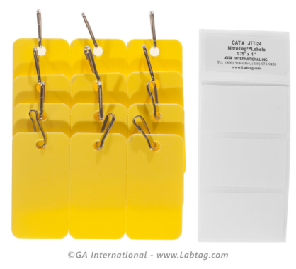 Pack of nine Yellow non adhesive tags with connection hooks for the identification of cryogenic cryoboxes racks