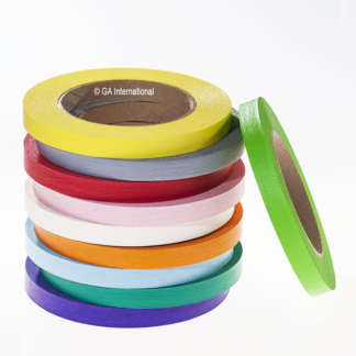 Stack of 9 rolls of removable colored tapes for laboratory labeling.